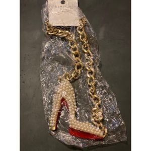 New with tags fashion Red bottom shoe necklace
